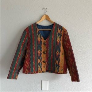 Vintage 90s Geometric Short Layering Jacket